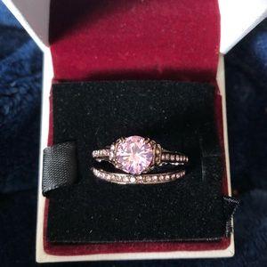 Pink Gold Wedding Ring Set